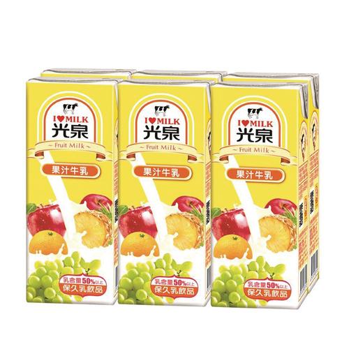 光泉 牛乳-果汁(200ml*6包/組)