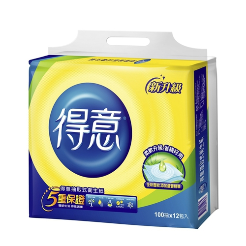 得意 連續抽取式花紋衛生紙(100抽x12包/袋)