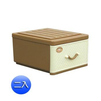 藤紋抽屜整理箱(18L)二入組