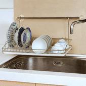 《台灣不鏽鋼精品》吊掛式碗盤置物架附集水盤(不含橫杆)