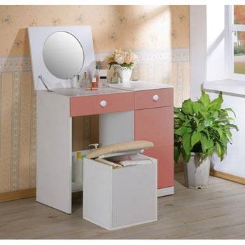 《C&B》幸福甜心掀鏡兩用化妝書桌椅組-粉