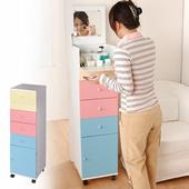 《直立式細縫》便利化妝台收納櫃(粉彩)