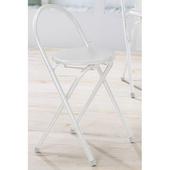 《C&B》好易收圓形便利折疊椅(4入/白色鐵管白色坐墊)