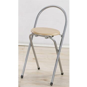 《C&B》好易收圓形便利折疊椅(4入/銀色鐵管木紋坐墊)