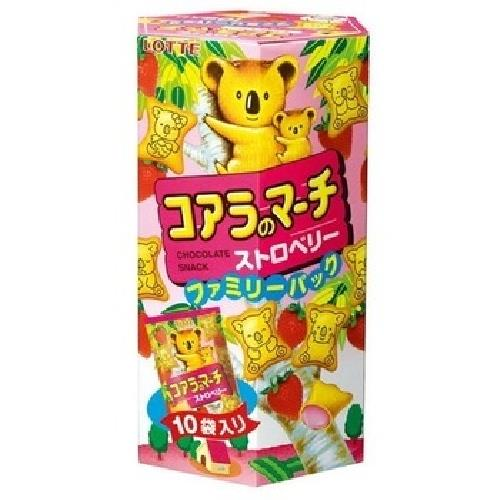 LOTTE 樂天小熊餅乾家庭號-草莓(195g/盒)