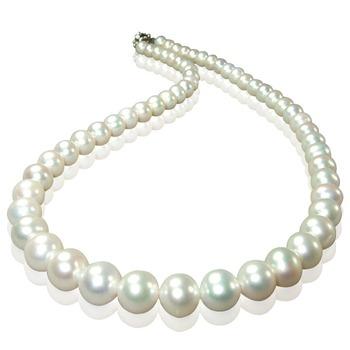小樂珠寶 3A頂級7-7.5mm天然珍珠項鍊(白色)