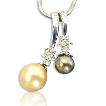 小樂珠寶 3A南洋深海貝珍珠墬子(雙色款)