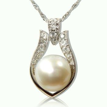 【小樂珠寶】 超大珠頂級11-12mm天然珍珠墜子◆公主款
