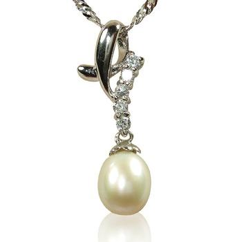 小樂珠寶 絕美天然珍珠墜子(水鑽華麗款)