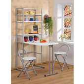 《C&B》新好生活多用途折合桌椅組(一桌+兩椅+置物櫃三件式)(白色)