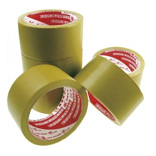 《四維鹿頭牌》棕色PVC易撕包裝膠帶(6入/組)