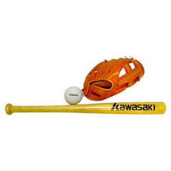 KAWASAKI 少年棒球組(24吋球棒x1+棒球x1+10.5吋手套)