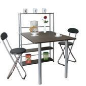 《環球》80公分深x120公分寬[一桌兩椅]餐桌椅組(深胡桃木桌+胡桃木椅)