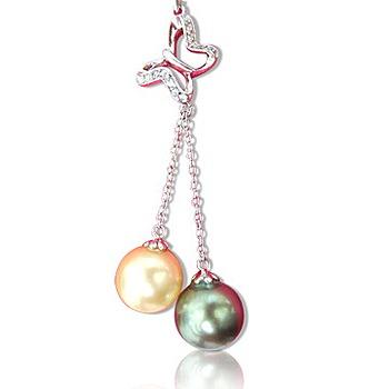 小樂珠寶 3A南洋深海貝珍珠墬子(南洋雙色)