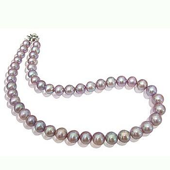 小樂珠寶 超稀有天然珍珠項鍊-紫羅蘭色