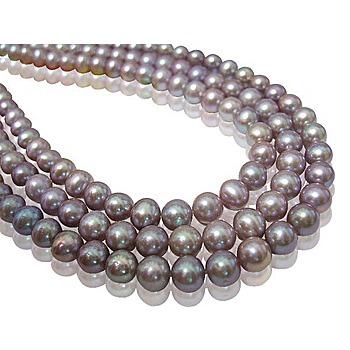 小樂珠寶 頂級天然珍珠項鍊(濃郁紫羅蘭色)