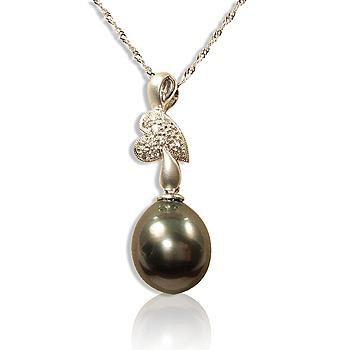 小樂珠寶 11~12mm大溪地南洋珠鑽墬子