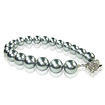 小樂珠寶 3A正圓南洋深海貝珍珠手鍊(銀灰色)