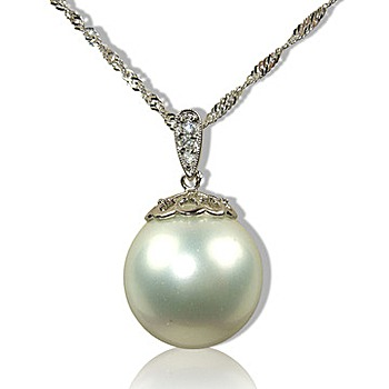 小樂珠寶 3A南洋深海貝珍珠墬子 美麗大花蓋
