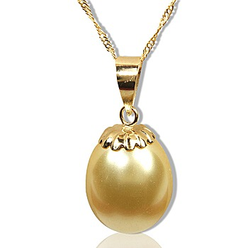 小樂珠寶 14K金南洋深海貝珍珠墬子 金色