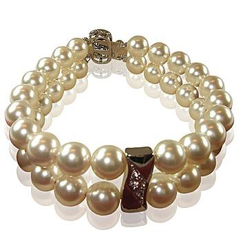小樂珠寶 3A正圓漂亮南洋深海貝珍珠手鍊 雙串式