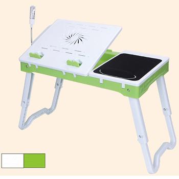 C&B 專家萬能升降NB桌(附USB埠、LED燈&風扇)(白+綠色)