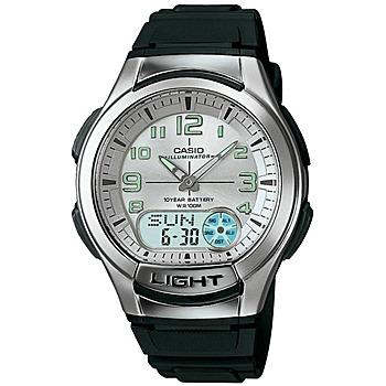 CASIO 時尚雙顯商務休閒錶 銀白/膠帶 AQ-180W-7B