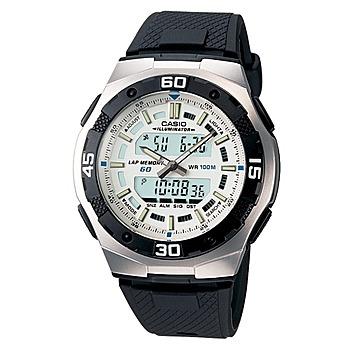 CASIO 城市遊俠運動膠帶雙顯錶 白 AQ-164W-7A