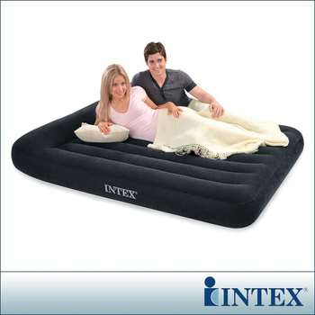 ★結帳現折★INTEX 舒適型-雙人植絨充氣床墊-有頭枕(寬137cm)