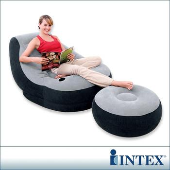 INTEX 懶骨頭-單人充氣沙發椅附腳椅-灰色