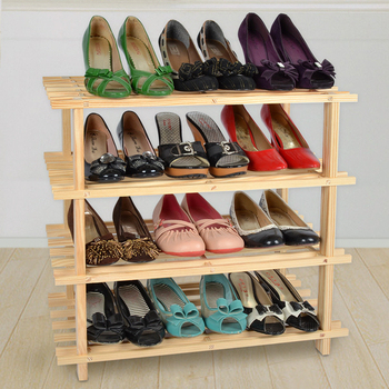 LIFECODE 自然風格-免螺絲實木四層鞋架/組合鞋架