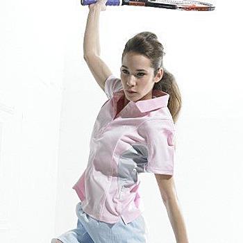 SASAKI 女 吸濕排汗網球短衫(840066粉紅L)