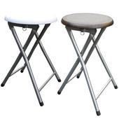 《頂堅》木製圓形椅座-折疊椅子(4入/組)-二色可選(素雅白色)