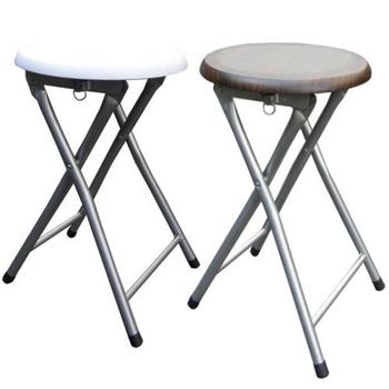 頂堅 木製圓形椅座-折疊椅子(4入/組)-二色可選(素雅白色)