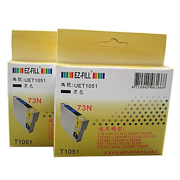 EZ-FILL 適用EPSON 噴墨印表機相容墨水匣(適用EPSON 73N相容墨水匣---黑色雙盒裝)