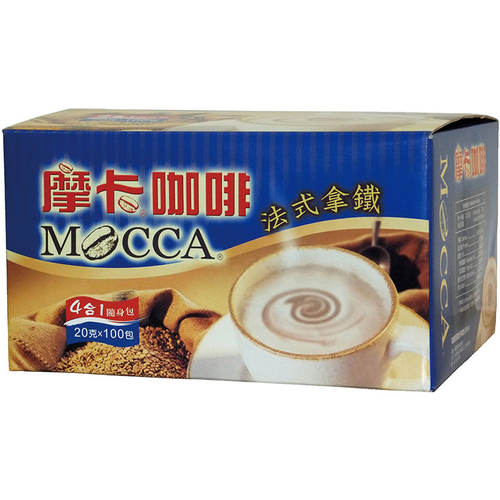 摩卡 法式拿鐵四合一咖啡隨身包(20gX100包/盒)