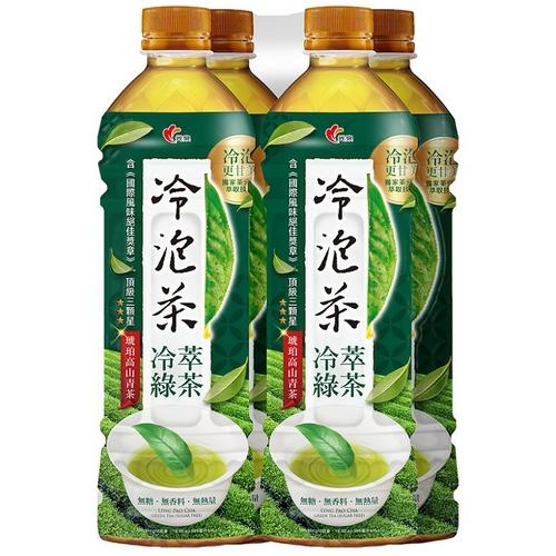 光泉 冷泡茶-冷萃綠茶(無糖)(585mlx4瓶/組)