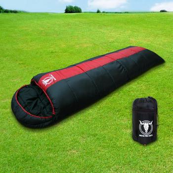 APC 秋冬可拼接全開式睡袋-雙層七孔棉(紅黑色)