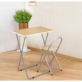 《C&B》靜岡摺疊桌椅組(一桌 + 一椅)(木紋桌面)