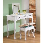 《C&B》寬型英倫風掀鏡兩用化妝書桌(白色)