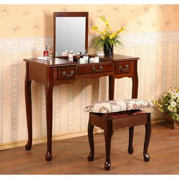 《C&B》寬型英倫風掀鏡兩用化妝書桌(櫻桃色)