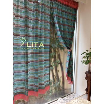 ★結帳現折★麗塔寢飾 【彩虹-紅】DIY穿桿式窗簾(寬130*長150 cm)