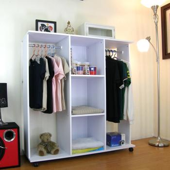 頂堅 開放式衣櫃-(雙吊衣桿+三大格)40Dx120Wx125H/公分(深胡桃木色)