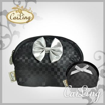 CaiLing 棋盤格曼谷包最夯組合-同款化妝包+零錢包-黑銀