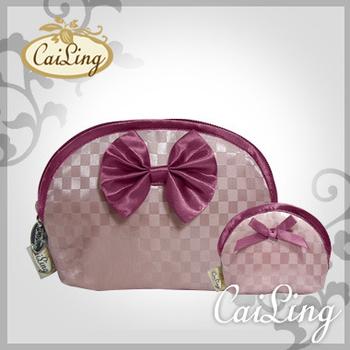 CaiLing 棋盤格曼谷包最夯組合-同款化妝包+零錢包-雙粉