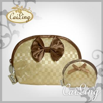 CaiLing 棋盤格曼谷包最夯組合-同款化妝包+零錢包-金咖