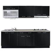 《巨蟹座》一字型廚具W210(系統板櫃體/美耐板檯面/美耐板門片/古典紋黑)
