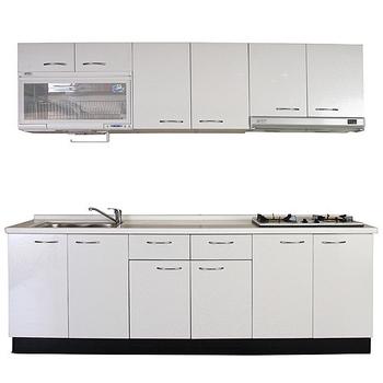 《巨蟹座》一字型廚具W210(系統板櫃體/人造石檯面/美耐板門片/古典紋白)