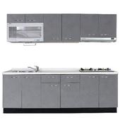 《巨蟹座》一字型廚具W210(系統板櫃體/人造石檯面/水晶板門片/灰)