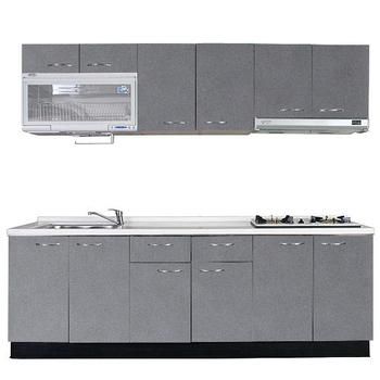 ★結帳現折★巨蟹座 一字型廚具W210(系統板櫃體/人造石檯面/水晶板門片/灰)
